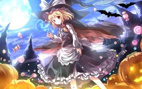 halloween 4k wallpaper anime halloween wallpaper flying candies and big pumpkins