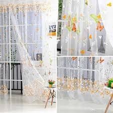 butterfly tulle voile window curtains door room balcony sheer