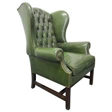 Leather High Back Armchair Vintage Green Leather Tufted Wingback Chair At 1stdibs