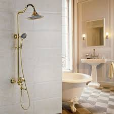 Shower In Bathroom Vintage Brass Bathroom Outdoor Shower Faucets With Shelves