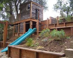 Steep Hill Backyard Ideas Building The Play Area Into The Hill Landscaping Has To Be Done