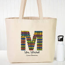 personalized tote bags for teachers crayon letter