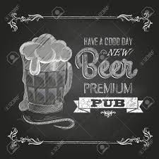 poster with beer in mag chalk drawing royalty free cliparts