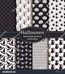 Halloween Tree Silhouette Pattern by Set Halloween Backgrounds Collection Seamless Patterns Stock
