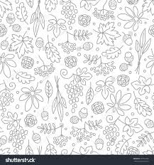 background for thanksgiving seamless pattern grapes acorns leaves flowers stock vector