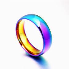 aliexpress buy brand tracyswing rings for women men women rainbow colorful ring titanium steel wedding band ring