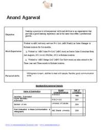Resume Sample Template sample template of an mba finance and marketing for fresher and