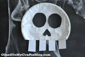 paper plate skull kid craft