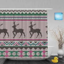 online get cheap christmas curtains deer aliexpress com alibaba seamless ethnic knitting deer bathroom curtains cute christmas home decor shower curtain waterproof polyester fabric with