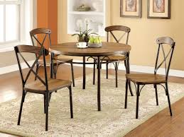 industrial dining room tables furniture of america bronzed xallie 5 piece round industrial