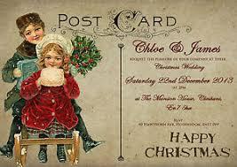 Christmas Wedding Invitations Personalised Vintage Postcard Christmas Wedding Invitations Packs