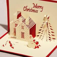 3d greeting card castle in winter handmade paper craft 3d pop