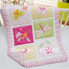Dragonfly Crib Bedding Set 100 Cotton Embroidery Pink Flower Butterfly Dragonfly Baby Quilt