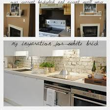 Brick Kitchen Backsplash by White Kitchen White Cabinets Corbels Faux Backsplash Brick Paint