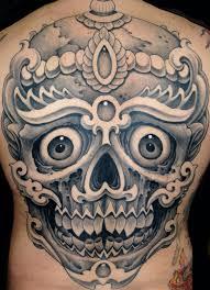 religious spiritual skull to the needle