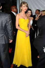 taylor swift simple yellow strapless long bridesmaid dress golden