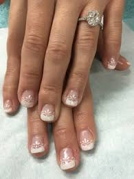 sparkly with silver gradient french gel nails gel nail