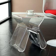 amazon com modway acrylic end table with magazine rack in clear
