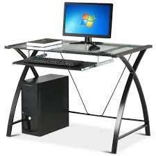 Computer Desk Ebay by Glass Computer Desk With Pullout Keyboard Tray Muallimce