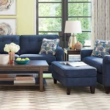 blue leather sofa living room craftsman with built in shelves