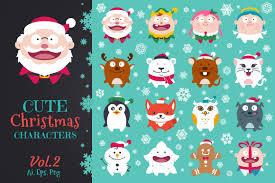 cute flat christmas characters vol 2 by design bundles