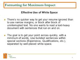 resume white space your career alternatives 1 your career alternatives welcome to the