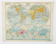 vintage world map 1948 map of the world post war world map