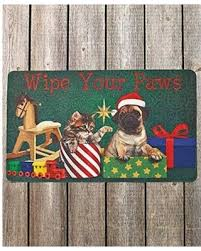 Wipe Your Paws Mat Decorative Amazing Deal On 30 U0027 Wipe Your Paws Christmas Pets Cats Dogs Happy