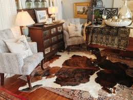 classic cowhide rug for traditional living room design for small