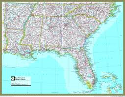 United States Geographical Map by Southeastern United States Atlas Wall Map Maps Com