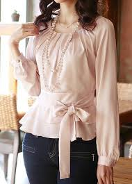 belted blouse belted sleeve peplum layered hem blouse rosewe com usd 31 86