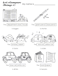 Adjectives That Compare Worksheets English Grammar Elementarytake The Pen