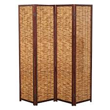 amazon com decorative 4 panel wood u0026 bamboo folding room divider