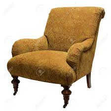 traditional style accent chair in gold fabric stock photo picture