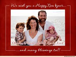 new year photo card happy new year blessings photo card family white photo