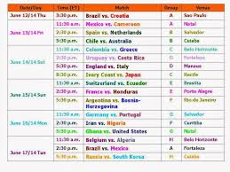 World Cup Table Learn New Things Fifa Football World Cup 2014 Schedule And Time Table