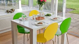4 Seat Dining Table And Chairs 4 Seater Dining Set White Gloss Table Coloured Chairs Uk