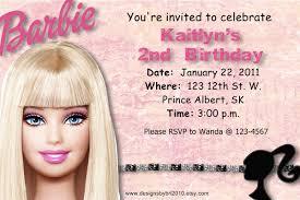 Barbie Birthday Invitation Cards Barbie Birthday Invitation