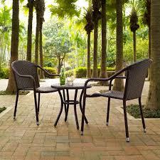 crosley ko70060br palm harbor 3 piece outdoor wicker cafe seating