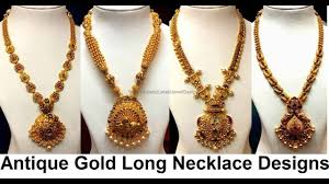 gold long necklace images Antique gold long necklace designs jpg