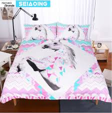 Geometric Coverlet Pink Unicorn Bedding Sets 3d Duvet Comforter Covers 3pc Geometric