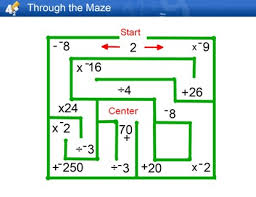 through the maze adding subtracting multiplying and dividing