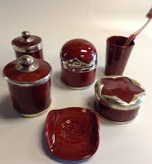 Red Bathroom Accessories Sets by Burgundy Red Bathroom Vanity Accessories 6 Pieces Set Moroccan