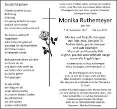 traueranzeige sprüche traueranzeige monika ruthemeyer trauerkarten
