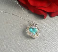 turquoise necklace silver chain images Bird nest necklace turquoise beads sterling silver chain easter jpg