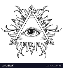 all seeing eye pyramid symbol in royalty free vector