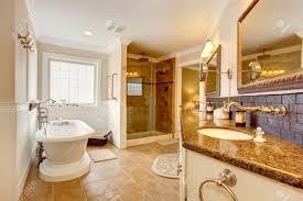 luxury bathroom interior room has glass door shower cabinet