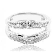 baguette ring 2cttw diamond baguette ring guard solitaire jacket 10k white gold