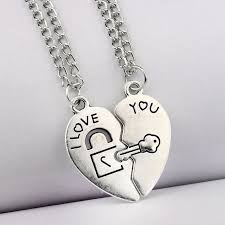 heart key lock necklace images 2pcs vintage silver broken heart key lock i love you pendant jpg