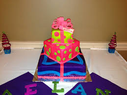 christmas presents baby shower cake in fondant with purple pink